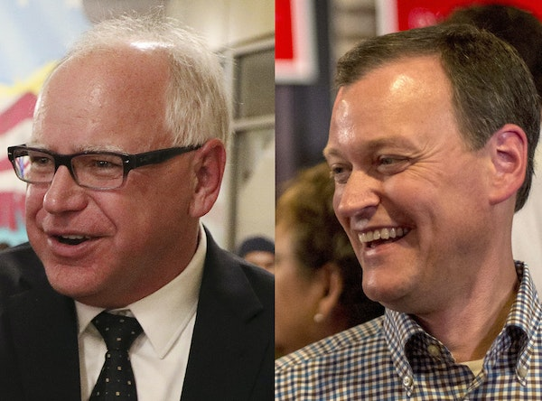 The DFL and Republican gubernatorial candidates, Tim Walz and Jeff Johnson, were both at the State Fair on Thursday, greeting fairgoers who turned out