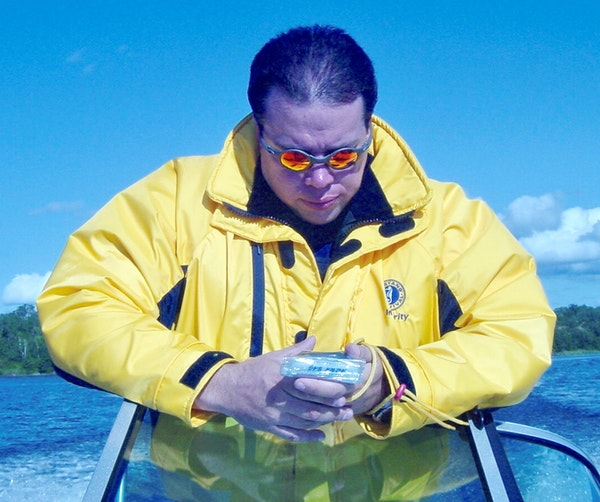 Joe Laurin of Roseau navigated to find a new waypoint for his Lake of the Woods digital guide, a phone app he unveiled this year to help visitors expl