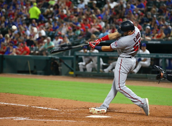 Jake Cave hit a two-run home run against the Rangers as part of a big fifth inning.