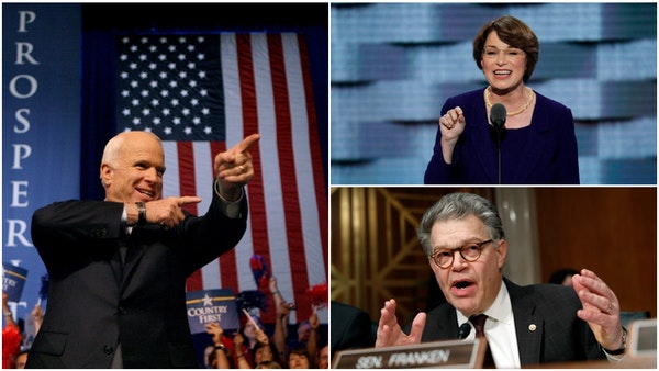Former colleagues in the U.S. Senate Amy Klobuchar (top right) and Al Franken (bottom left) spoke fondly of the late John McCain (left) and his servic