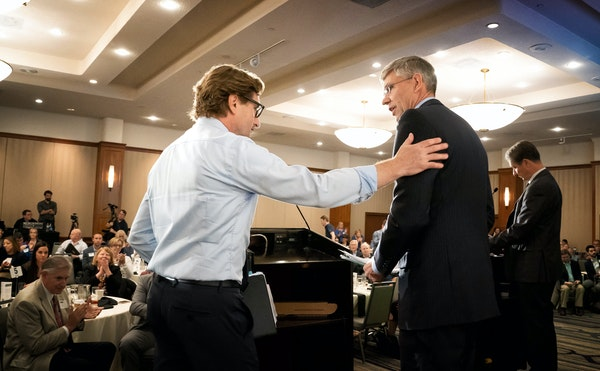 DFL challenger Dean Phillips and Rep. Erik Paulsen greeted each other at the end of Tuesday's Third Congressional District debate in St. Louis Park.