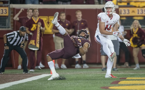 Antoine Winfield Jr. intercepted the ball in the end zone from Fresno State's tight end Jared Rice to save the game in the fourth quarter Saturday at