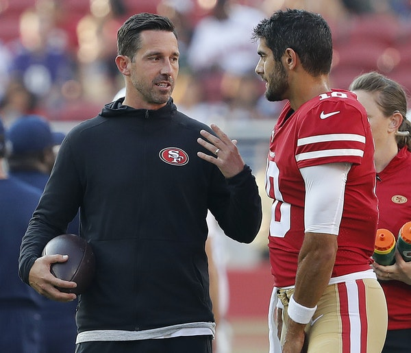 """San Francisco coach Kyle Shanahan became a believer in quarterback Jimmy Garoppolo late last season: """"We found out we had a pretty good one."""""""