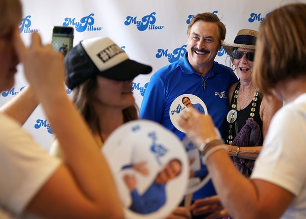 MyPillow founder Mike Lindell spent a recent morning talking with fans — and getting his picture taken — at his booth at the Minnesota State Fair.