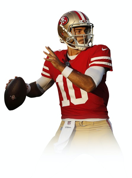San Francisco 49ers quarterback Jimmy Garoppolo (10) drops back to pass against the Dallas Cowboys during the first half of an NFL preseason football