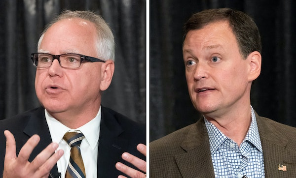 Candidates for Minnesota governor Tim Walz, left, and Jeff Johnson have sketched out starkly different visions for the future of state government.