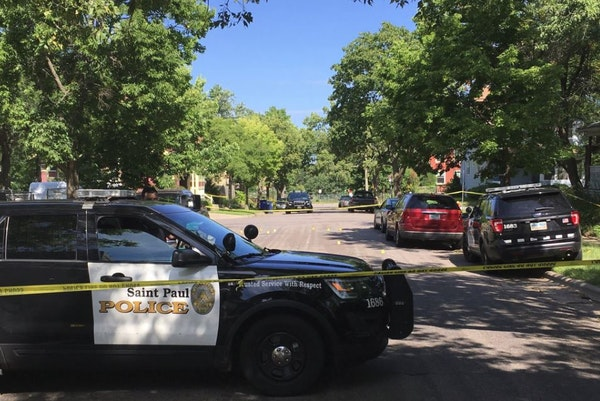 The scene of a death investigation in St. Paul on Friday.