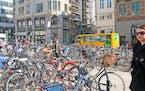 Bike parking at H�jbro Square (High Bridge Square) in Copenhagen.