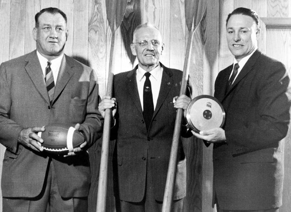 On May 6, 1958, Bronko Nagurski, left, Walt Hoover and Fortune Gordien were on hand for the inaugural Minnesota Hall of Fame induction ceremony.
