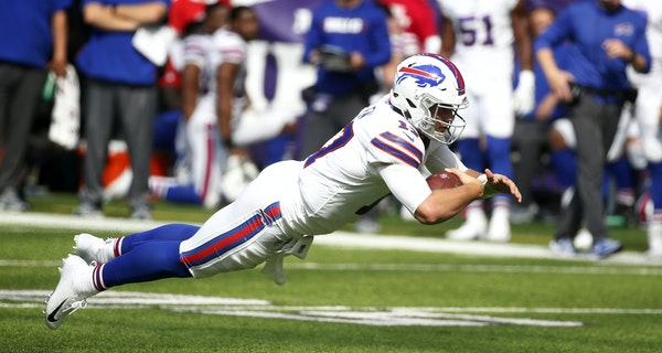 AP Photo/Bruce Kluckhohn Buffalo Bills quarterback Josh Allen led his team to a 27-6 win over the Vikings at U.S. Bank Stadium.