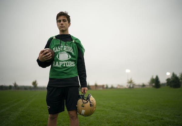 East Ridge quarterback Zach Zebrowski after practice Wednesday evening. ] JEFF WHEELER ï jeff.wheeler@startribune.com East Ridge quarterback Zach Zeb
