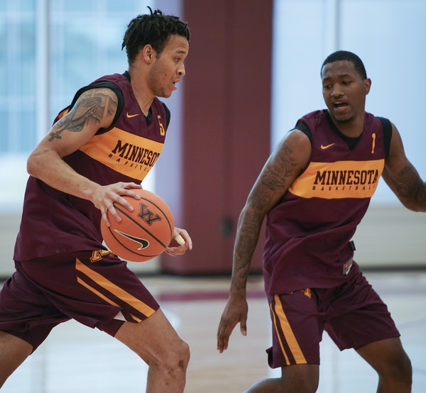 Amir Coffey, left, and Dupree McBrayer, both are coming off injuries during a disappointing 2017-18 Gophers season.