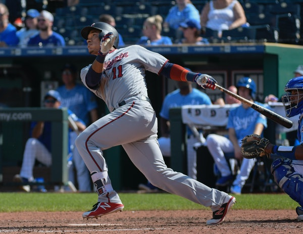 The Twins' Jorge Polanco hit a home run during the sixth inning Sunday, one of four on the day for the Twins.