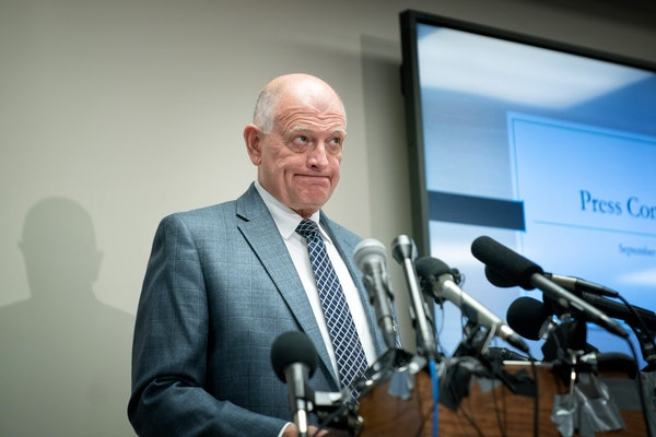 Stearns County Sheriff Don Gudmundson waited to begin a press conference to discuss the document release in the Jacob Wetterling case.
