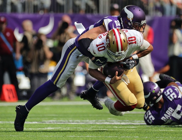 Harrison Smith sacked Jimmy Garoppolo in the 4th quarter on Sunday.