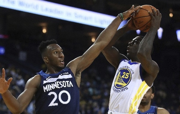 Timberwolves rookie Josh Okogie showed Golden State's Kendrick Nunn some energy on the defensive end Saturday night in Oakland, Calif.
