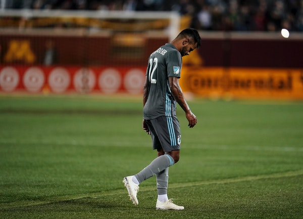 Loons midfielder Fernando Bob was ejected in the second half Saturday against the Portland Timbers.