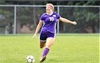 Chaska's Lily Smalley prepares to launch one of her three free kick goals in the Hawks' 4-3 overtime victory over Chanhassen.