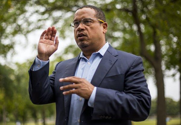 Rep. Keith Ellison addresses campaign volunteers on Aug. 17, 2018 in Minneapolis.