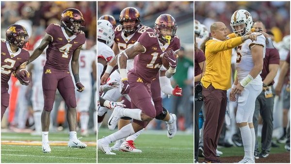 Terell Smith (4), Rashod Bateman (13) and Zack Annexstad (5) are among the Gophers freshmen who are expected to keep playing and use up a year of thei