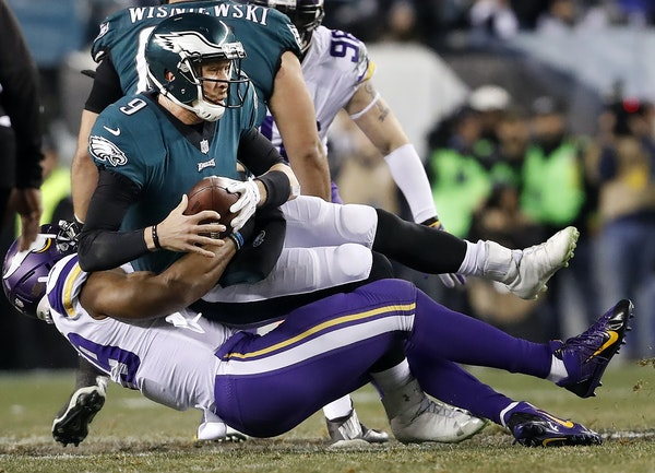 Eagles quarterback Nick Foles was sacked by Danielle Hunter of the Vikings during the NFC Championship Game on Jan. 21.