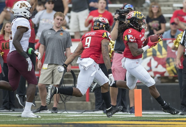 Maryland running back Anthony McFarland ran into the end zone for a first-quarter touchdown as Minnesota took on Maryland at Capital One Field in Coll