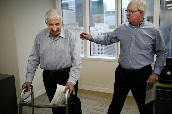 Star Tribune sports editor Glen Crevier, right, gave Sid Hartman the good news on Thursday afternoon that the longtime columnist will be inducted in t