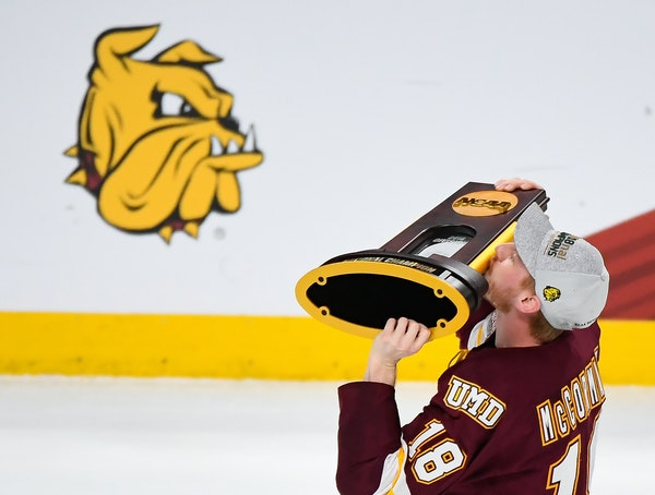 Defenseman Nick McCormack and the Duluth Bulldogs won the NCAA championship trophy last April at Xcel Energy Center in St. Paul. The Bulldogs will rai