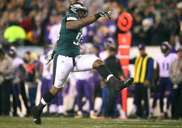 Philadelphia Eagles defensive tackle Timmy Jernigan (93) celebrated after stopping Minnesota Vikings running back Latavius Murray (25) for no gain dur