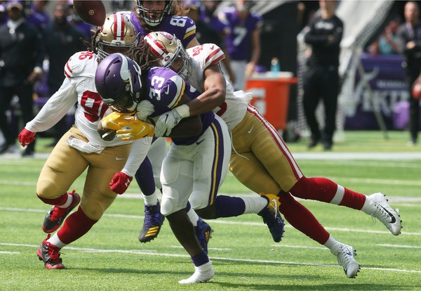 Vikings running back Dalvin Cook has been hampered by a hamstring injury. He has lost yardage on six of his 36 carries — and he's the team's lea