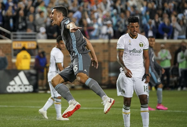 United defender Michael Boxall celebrated after he scored at TCF Bank Stadium earlier this year. The Loons have done a fair amount of celebrating at h