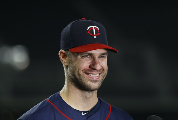 Joe Mauer did a TV interview after Tuesday's game in Detroit.