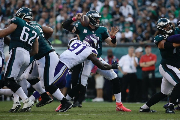 Vikings defensive end Stephen Weatherly (91), inheriting a starting role while Everson Griffen addresses some mental health issues, forced the fumble