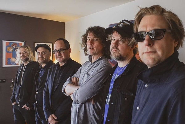 The Hold Steady has expanded into a six-man lineup with, from left, Bobby Drake, Franz Nicolay, Craig Finn, Galen Polivka, Steve Selvidge, Tad Kubler.