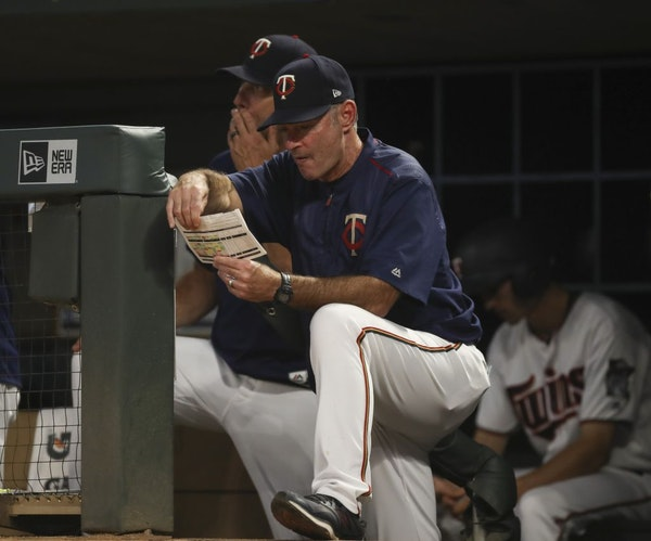 Minnesota Twins manager Paul Molitor ponders his lineup in the fifth inning against the Kansas City Royals on Tuesday, July 10, 2018, at Target Field