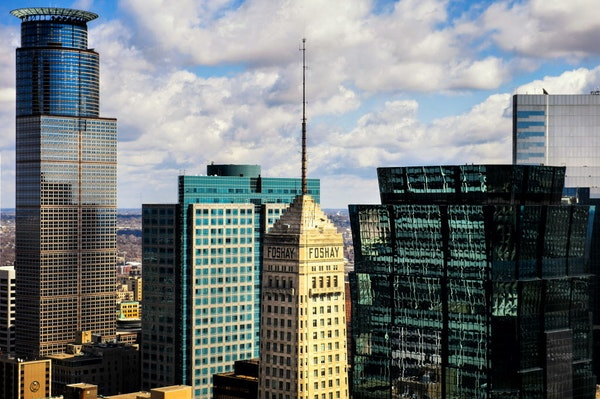 Minneapolis skyline with Capella Tower, IDS, Foshay, others. ] GLEN STUBBE * gstubbe@startribune.com Friday, April 10, 2015 EDS, seen from Target HQ 2
