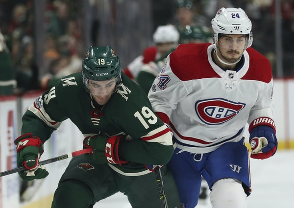 Center Luke Kunin, left, played in 19 games with the Wild before a season-ending knee injury.