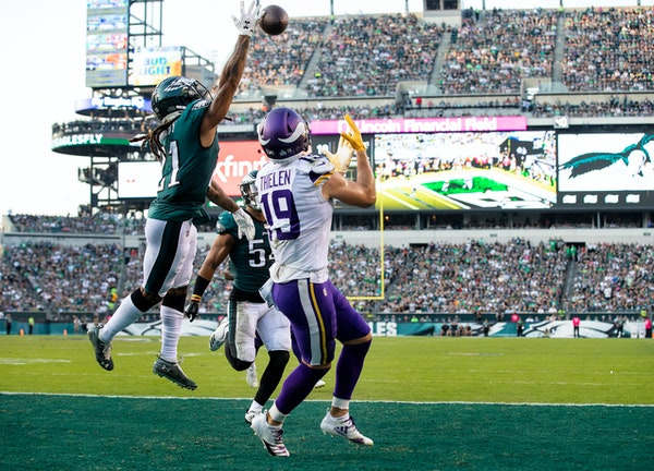 The Vikings' Adam Thielen got a step on Eagles cornerback Ronald Darby to nab a 3-yard touchdown pass from Kirk Cousins with 21 seconds left in the