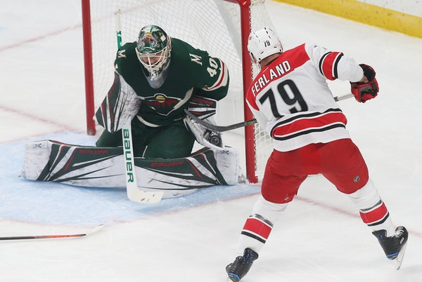 Wild goalie Devan Dubnyk turned aside 52 of 57 shots against Carolina on Saturday, which were the most given up by the Wild in team history, tied Dubn