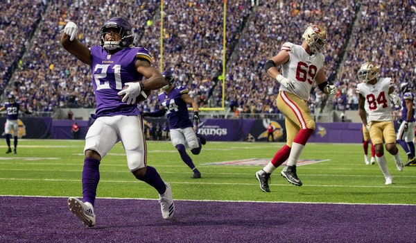 Mike Hughes returned an interception 28-yards for a touchdown in the Vikings' season opener vs. the 49ers.