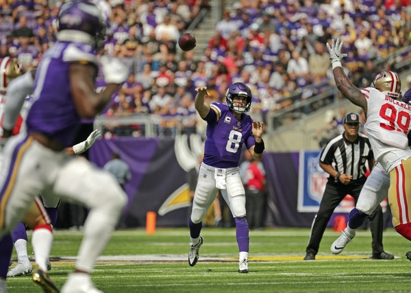 Quarterback Kirk Cousins has completed 71.2 percent of his passes through five games.