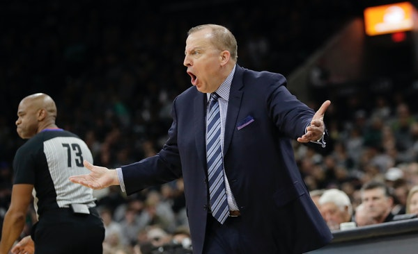 Timberwolves coach Tom Thibodeau argues a call during the first half of Wednesday night's season opener in San Antonio. The Wolves open the home sched