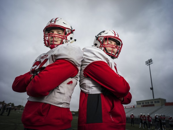 Senior defensive linemen Will Mostaert (left) and twin brother Eli are key members of the Lakeville North defense. Photo: Richard Tsong-Taatarii * Ric