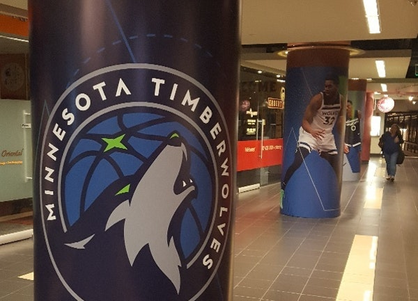 A pillar on Marquette Avenue in the Minneapolis skyway depicts the Timberwolves logo rather than Jimmy Butler.