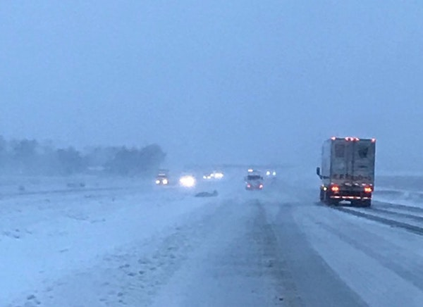 Up to 17 inches of snow fell in eastern North Dakota Wednesday, making even highway travel difficult.