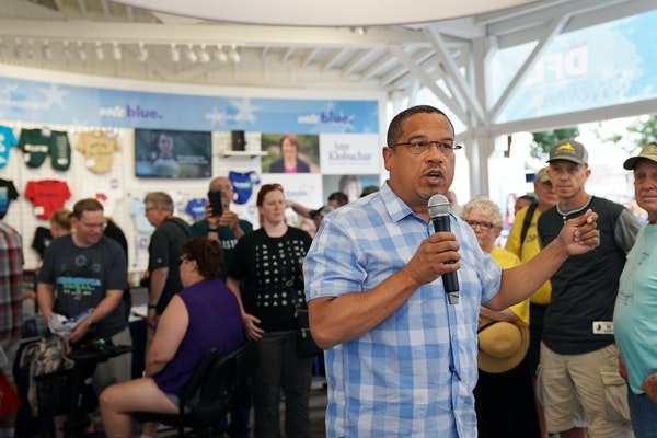 U.S. Rep. Keith Ellison, the DFL candidate for attorney general, spoke at the Minnesota State Fair in August.