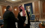 Secretary of State Mike Pompeo, left, meets with Crown Prince Mohammed bin Salman of Saudi Arabia in Riyadh on Tuesday, Oct. 16, 2018. Pompeo met with