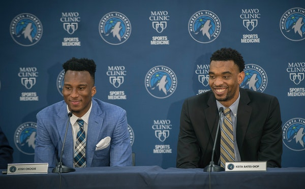 Wolves rookies Josh Okogie (left) and Keita Bates-Diop, shown after being drafted in June, officially practiced with the team for the first time Tuesd