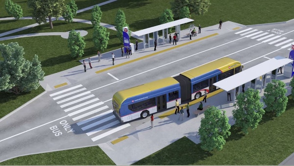 A rendering of a possible Gold Line bus rapid-transit project design.