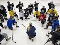 Minnesota Whitecaps co-head coach Ronda Engelhardt spoke to her players during practice.
